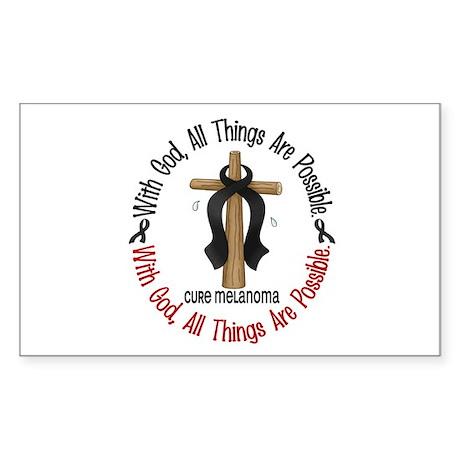 With God Cross Melanoma Rectangle Sticker