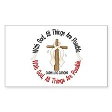 With God Cross Lung Cancer Rectangle Decal