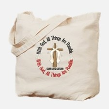 With God Cross Lung Cancer Tote Bag