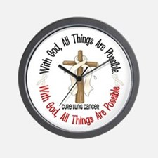 With God Cross Lung Cancer Wall Clock