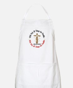 With God Cross Lung Cancer BBQ Apron