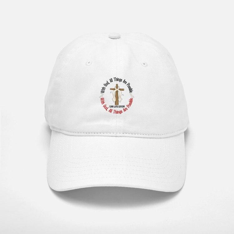 With God Cross Lung Cancer Baseball Baseball Cap
