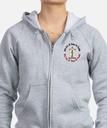 With God Cross Lung Cancer Zip Hoodie