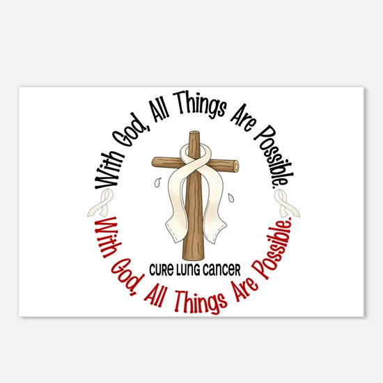 With God Cross Lung Cancer Postcards (Package of 8