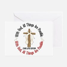 With God Cross Lung Cancer Greeting Card