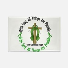 With God Cross Cerebral Palsy Rectangle Magnet