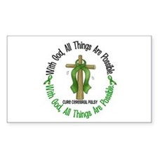 With God Cross Cerebral Palsy Rectangle Decal