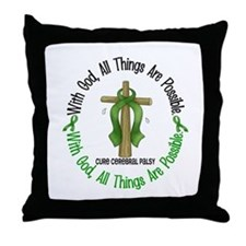 With God Cross Cerebral Palsy Throw Pillow