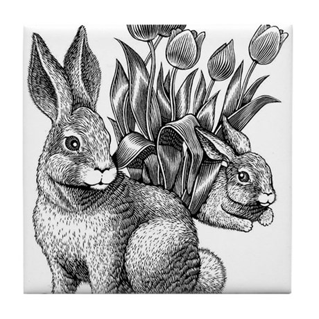 Rabbits and flowers Tile Coaster