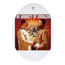 communist obama Oval Ornament