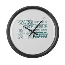 Wong Brothers Laundry Service Large Wall Clock