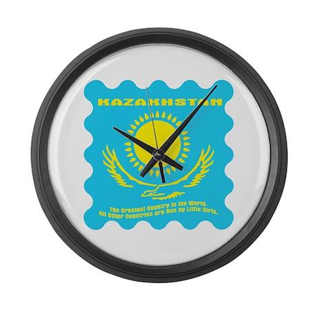 Kazakhstan (light shirt back Large Wall Clock