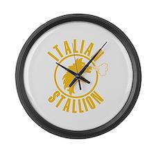 Italian Stallion (yellow prin Large Wall Clock