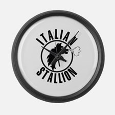 Italian Stallion (black print Large Wall Clock
