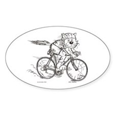 Bicycle Cat Oval Decal