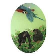 Chimps Oval Ornament