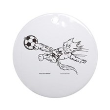 Soccer cat Ornament (Round)