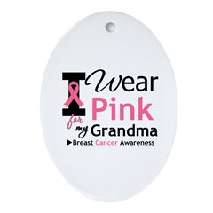 I Wear Pink Grandma Oval Ornament