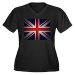UNION JACK Women's Plus Size V-Neck Dark T-Shirt