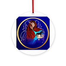 Fairy and Black Unicorn Ornament (Round)