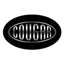 Stylized Metalic Cougar -- Oval Bumper Stickers