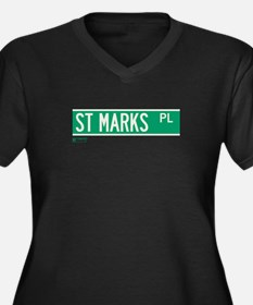 St Marks Place in NY Women's Plus Size V-Neck Dark