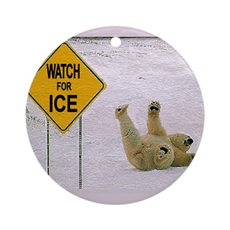 Watch for Ice Ornament (Round)