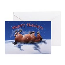Equine Snow Angel holiday Greeting Card Single