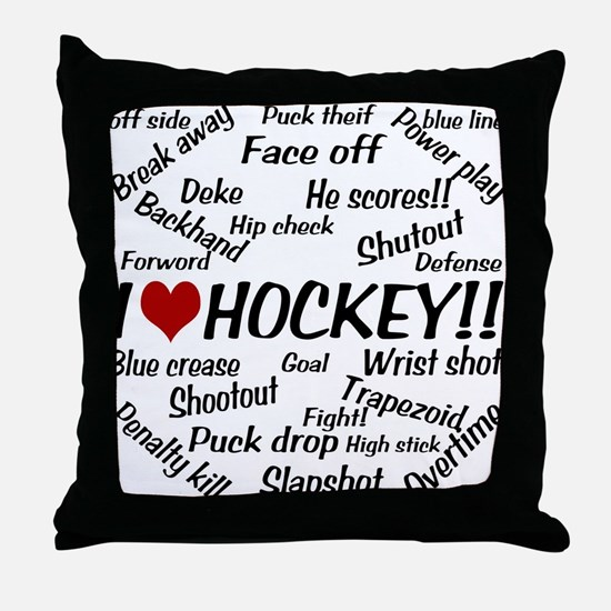 I Love Hockey Throw Pillow