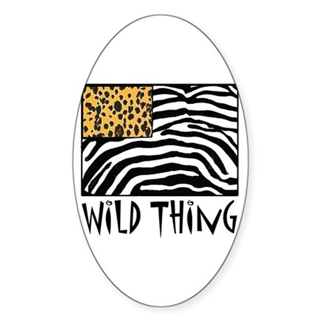Cheetah & Zebra Wild Thing Sticker (Oval 50 pk)