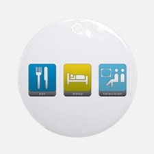 Eat, Sleep, Television Round Ornament