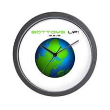 Bottoms Up Big Globe Wall Clock