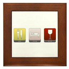 Eat, Sleep, Wine Framed Tile