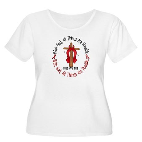 With God Cross HIV AIDS Women's Plus Size Scoop Ne