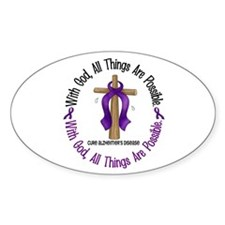 With God Cross ALZHEIMERS Oval Decal