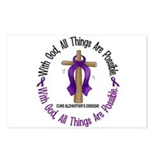 With God Cross ALZHEIMERS Postcards (Package of 8)