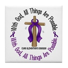 With God Cross ALZHEIMERS Tile Coaster