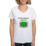 SCT Survivor Grunge Heart Women's V-Neck T-Shirt