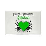 SCT Survivor Grunge Heart Rectangle Magnet (10 pac