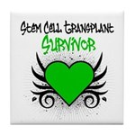 SCT Survivor Grunge Heart Tile Coaster