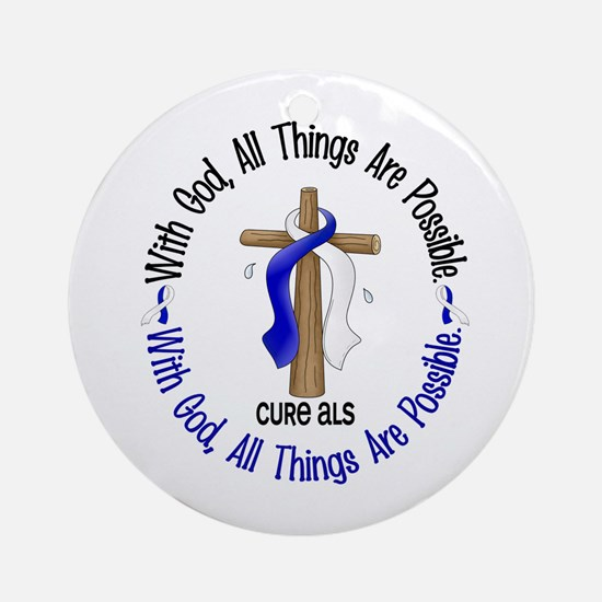 With God Cross ALS Ornament (Round)