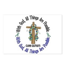 With God Cross Autism Postcards (Package of 8)