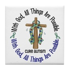 With God Cross Autism Tile Coaster