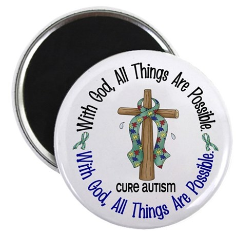 With God Cross Autism Magnet
