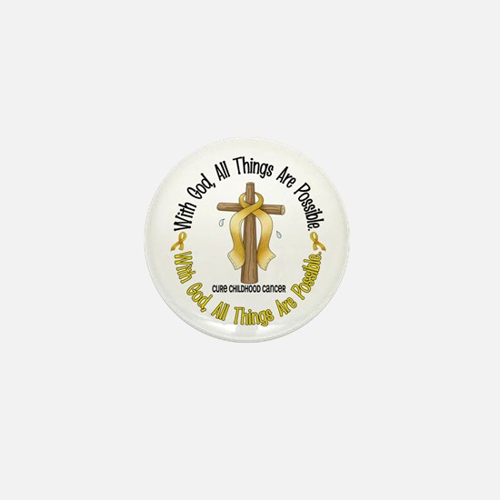 With God Cross CHILD CANCER Mini Button