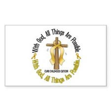 With God Cross CHILD CANCER Rectangle Decal