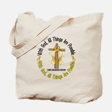 With God Cross CHILD CANCER Tote Bag