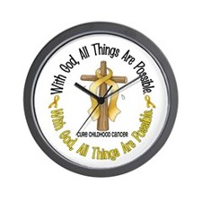 With God Cross CHILD CANCER Wall Clock