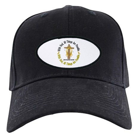 With God Cross CHILD CANCER Black Cap