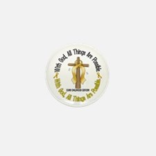 With God Cross CHILD CANCER Mini Button (10 pack)